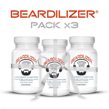Beardilizer - Pakkaus 3 Pulloa 90 Kapselia - Viiksien Ja Parran Kasvattamiseen