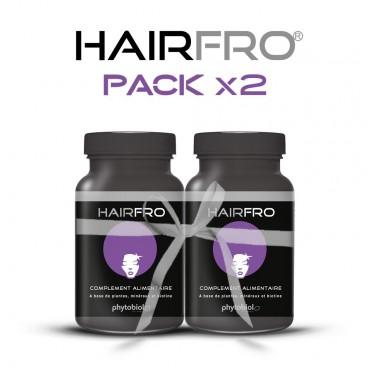 HairFro - Packa 2 flaskor om 100 kapslar - Återväxtsbehandling för svart hår
