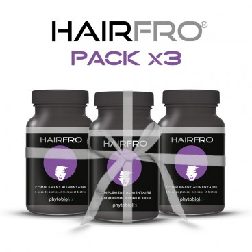 HairFro - Pack 3 Flasker 100 Kapsler - Hår Genvækst Behandling for Sort Hår