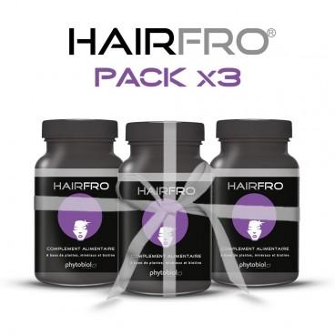 HairFro - Packa 3 flaskor om 100 kapslar - Återväxtsbehandling för svart hår