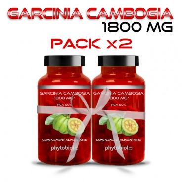 Garcinia Cambogia 1800MG - Pack 2 Flacons - Traitement Minceur - 60 Capsules - Phytobiol