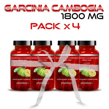 Garcinia Cambogia 1800MG - Pack 4 Flacons - Traitement Minceur - 60 Capsules - Phytobiol