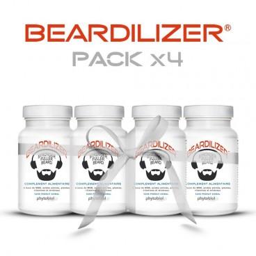 Beardilizer - Pakke 4 Flasker 90 Kapsler - Ansiktshår- og Skjeggvekstkompleks